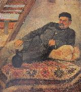 Romanoz Gvelesiani A Kakhetian man with a jar oil painting